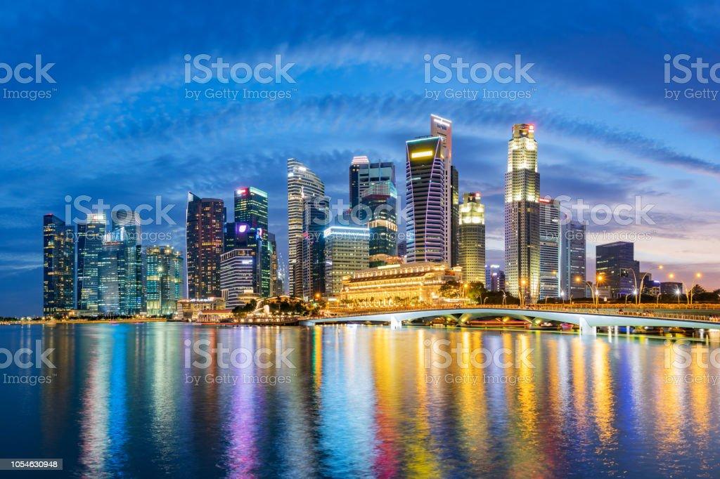 Singapore financial district skyline at Marina bay on twilight time. stock photo