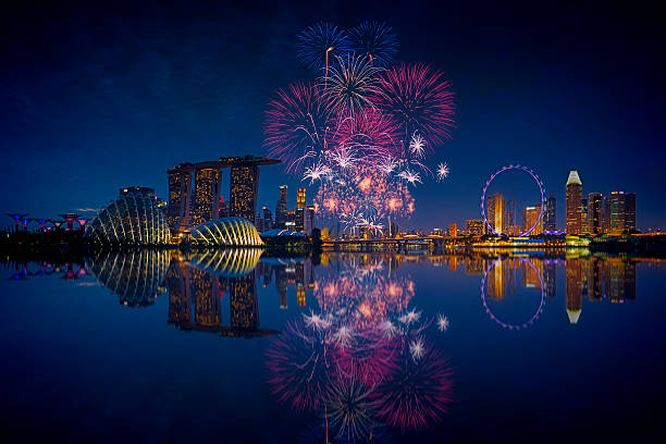 singapore fireworks - singapore stock photos and pictures