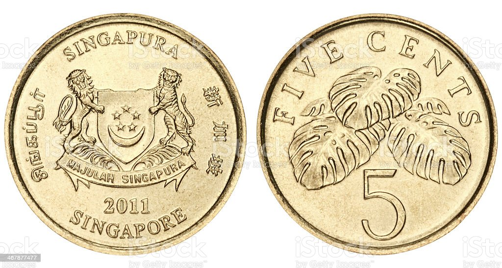 Singapore five cents on white background royalty-free stock photo