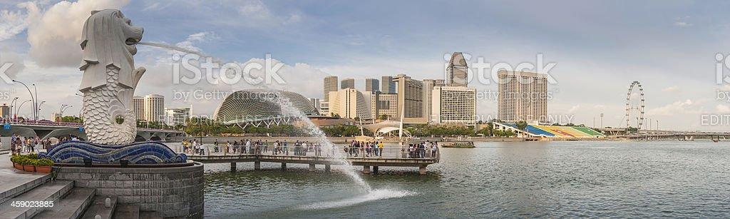 Singapore Flyer landmarks panorama Merlion Marina Bay and Esplanade Theatre royalty-free stock photo