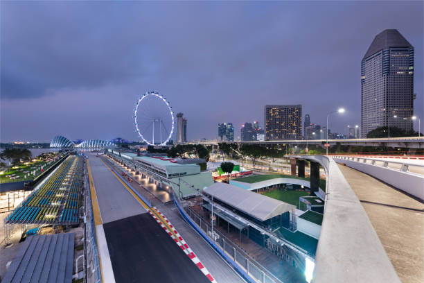 Singapore Formula One Circuit and cityscape at night stock photo
