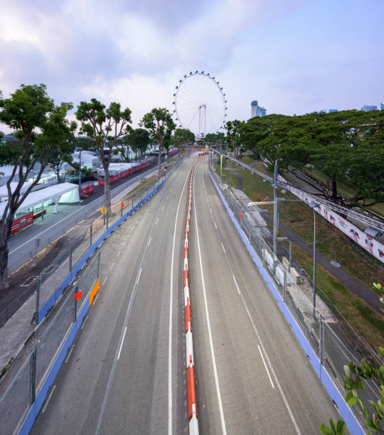 Singapore Formula One Circuit and cityscape stock photo
