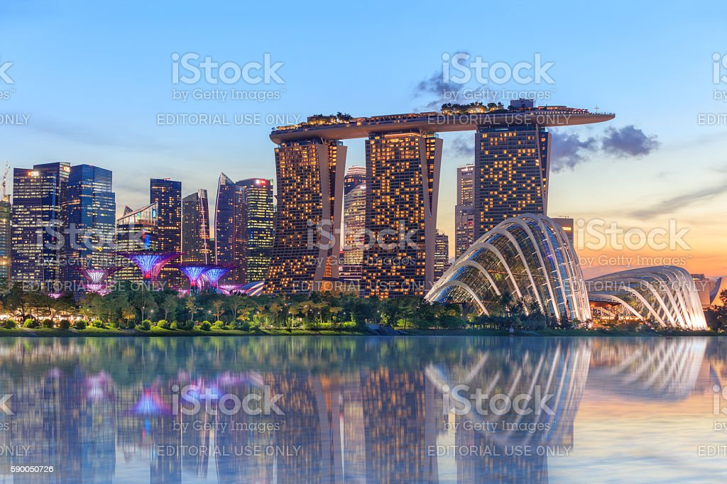 Singapore glowing at night stock photo