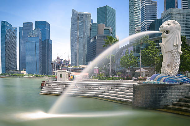 Singapore landmark Merlion Singapore, Singapore -April, 20th 2015 : view of Singapore's landmark and symbol Merlion, kind of fountain, seated at Bayfront in front of Esplanade promenade and hotel Fullerton One. In background are some office buildings and bank towers of financial district of Singapore. Some tourists are walking around, doing sight seeing. merlion fictional character stock pictures, royalty-free photos & images