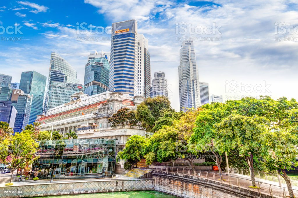 Singapore Landmark Skyline at Fullerton on Esplanade Bridge stock photo
