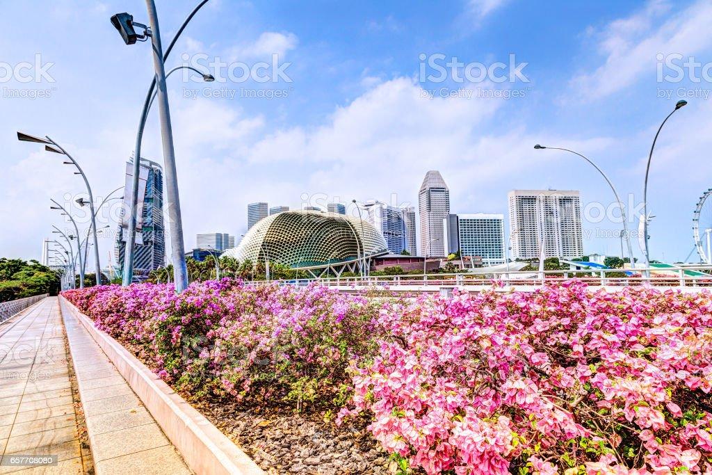 Singapore Landmark Skyline of Marina Bay on Esplanade Bridge stock photo
