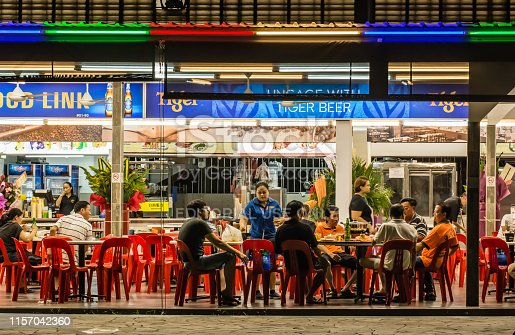 Singapore-AUG 6 2017: Singapore traditional food count in night view