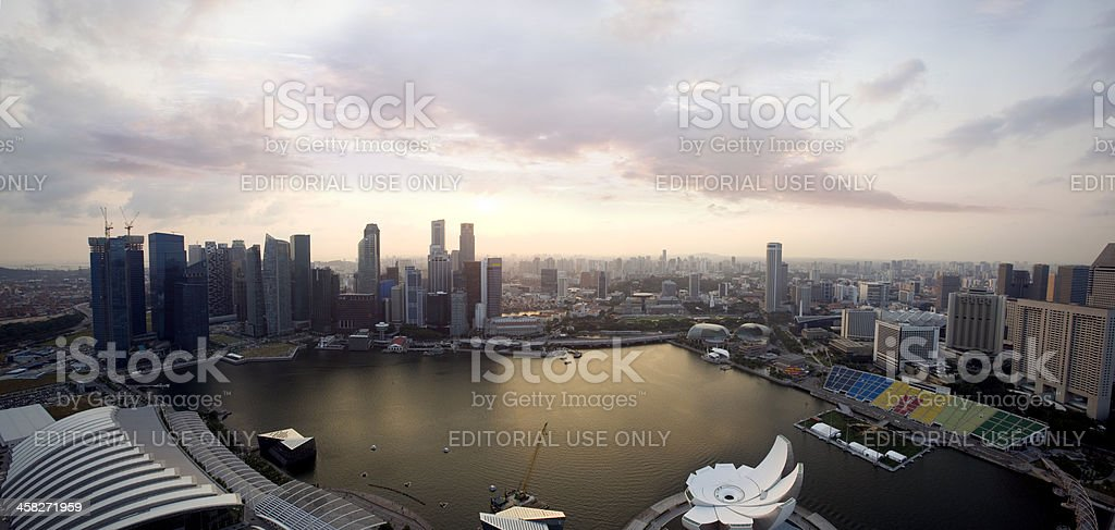 Singapore Marina Bay and Business District Skyline at Sunset royalty-free stock photo