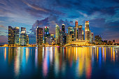 Central Business District in Singapore at Dusk. Beautiful Reflections on the water of Marina Bay. Singapore City, Central Business District, Asia.