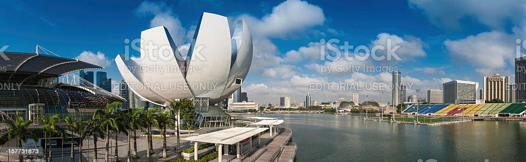 Singapore Marina Bay Sands ArtScience Museum panorama stock photo