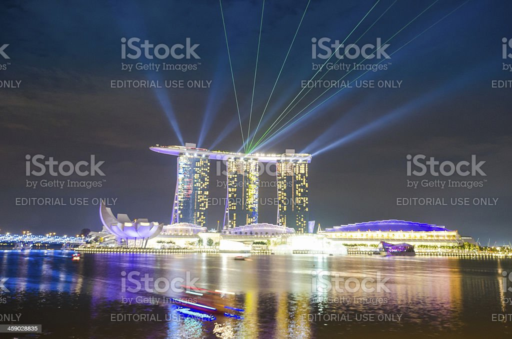 Singapore Marina Bay Sands Hotel colourful laser lightshow royalty-free stock photo