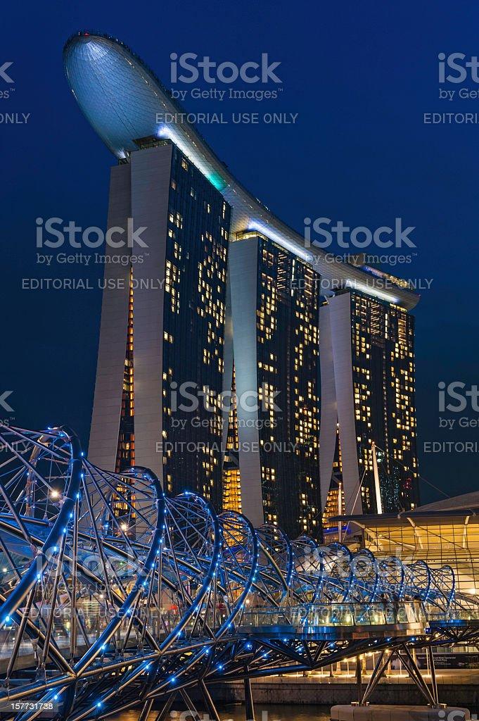 Singapore Marina Bay Sands hotel Helix Bridge illuminated royalty-free stock photo