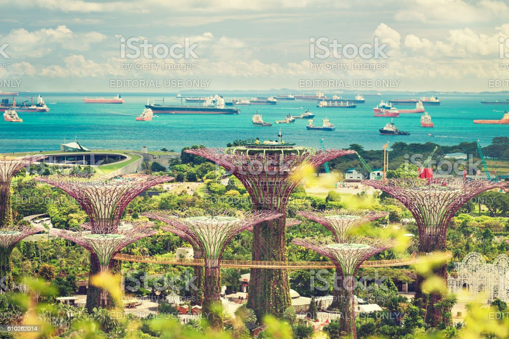 Singapore. Marina garden, and ships in the Harbor. stock photo