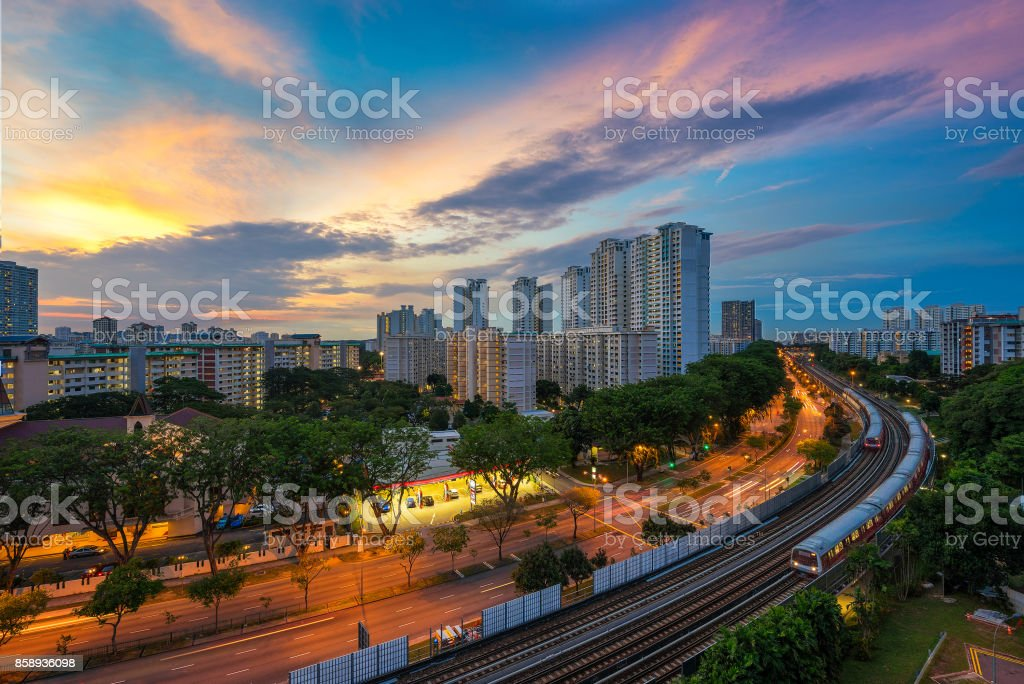 Singapore mass rapid train or MRT travels on the track stock photo