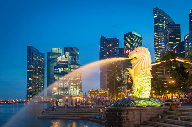 Singapore Merlion fountain and Marina Bay skyscrapers illuminated at dusk Singapore, Singapore - 14th February 2012: The crowded cityscape of Central Business District skyscrapers overlooking the Merlion fountain on the Marina Bay waterfront at dusk as tourists and locals enjoy the warm evening promenade, Singapore. merlion statue stock pictures, royalty-free photos & images