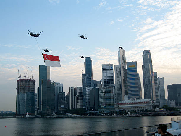 Singapore national day skyline and flag stock photo