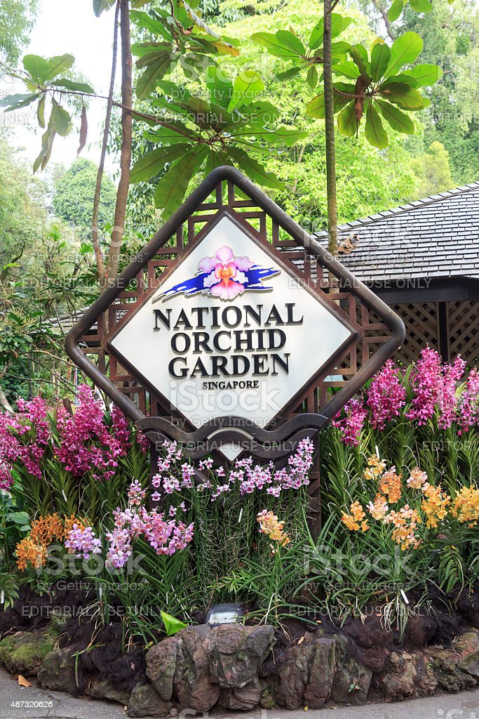 Singapore national orchid garden sign stock photo