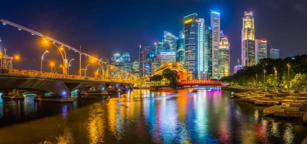 Singapur Neonendacht-Wolkenkratzer glitzern über Singapore River Brücken Panorama – Foto