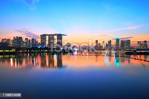 This Singapore night skyline was taken from the Marina Barrage after sunset.