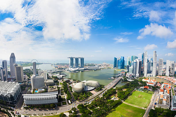 Singapore Panorama Aerial view of Marina Bay with CBD in Singapore. Shot with fisheye lens. esplanade theater stock pictures, royalty-free photos & images