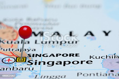 1151956281 istock photo Singapore pinned on a map of Asia 486802052