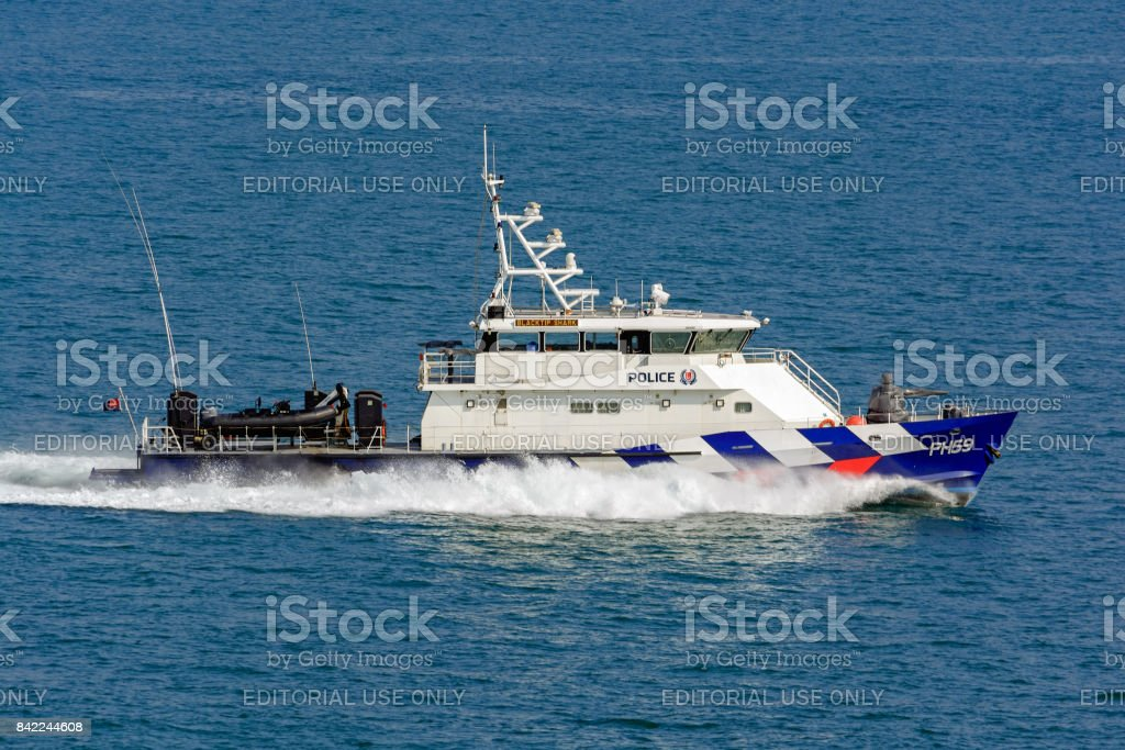 Singapore Police Coast Guard speed boat PH 59 'Blacktip Shark' stock photo