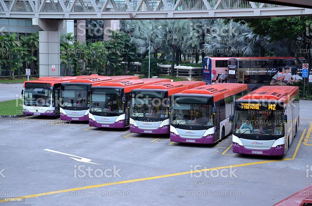 Singapore public buses ready for departure at bus interchange terminal royalty-free stock photo