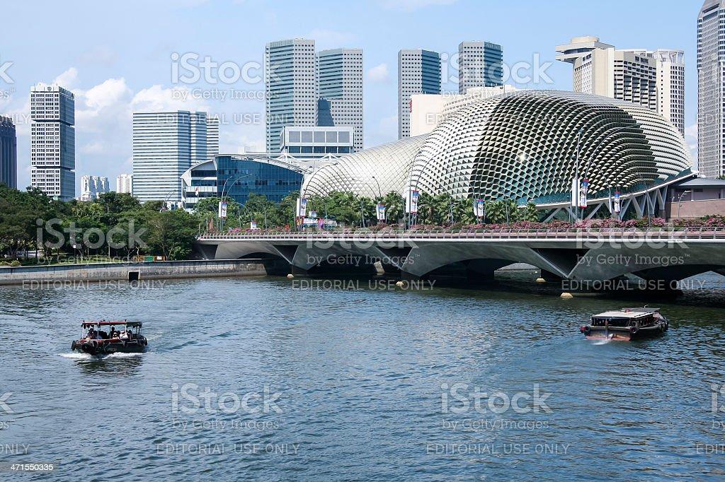 singapore river esplanade theatre on the bay stock photo