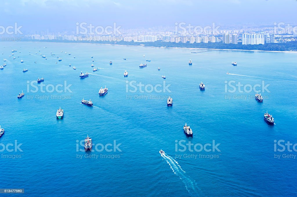 Singapore shipping industry stock photo