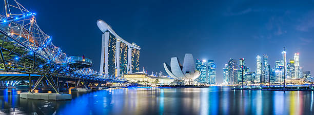 singapore sky line - singapore stock photos and pictures