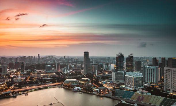 singapore skyline aerial view - singapore stock photos and pictures