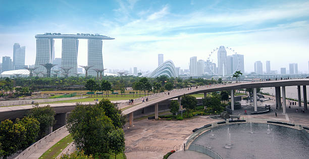 singapore skyline and cityscape - marina bay sands stock photos and pictures