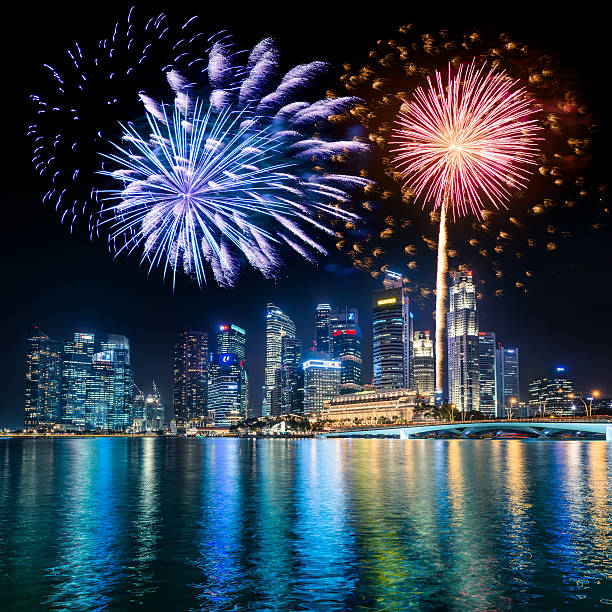 Singapore Skyline and Marina Bay with fireworks stock photo