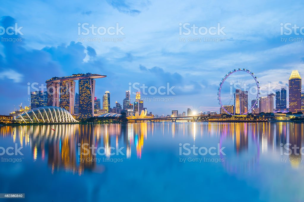 Singapore Skyline and view of Marina Bay at twilight stock photo