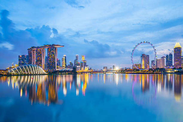 singapore skyline and view of marina bay at twilight - singapore stockfoto's en -beelden