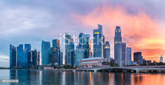 Singapore Skyline at Marina Bay at Twilight