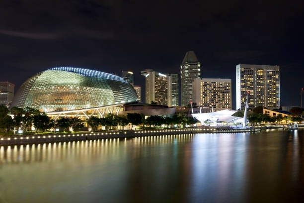 Singapore Skyline at Night Singapore Skyline at Night esplanade theater stock pictures, royalty-free photos & images