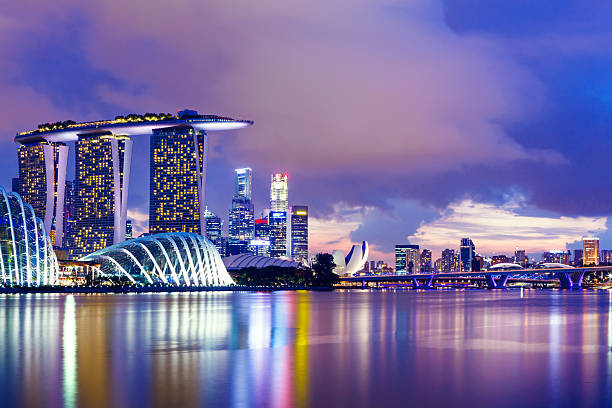 singapore skyline at night - singapore stock photos and pictures