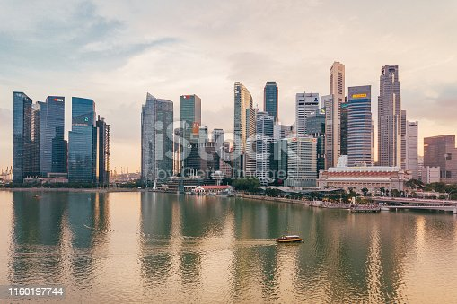 Singapore skyline at sunset - Aerial point of view from drone