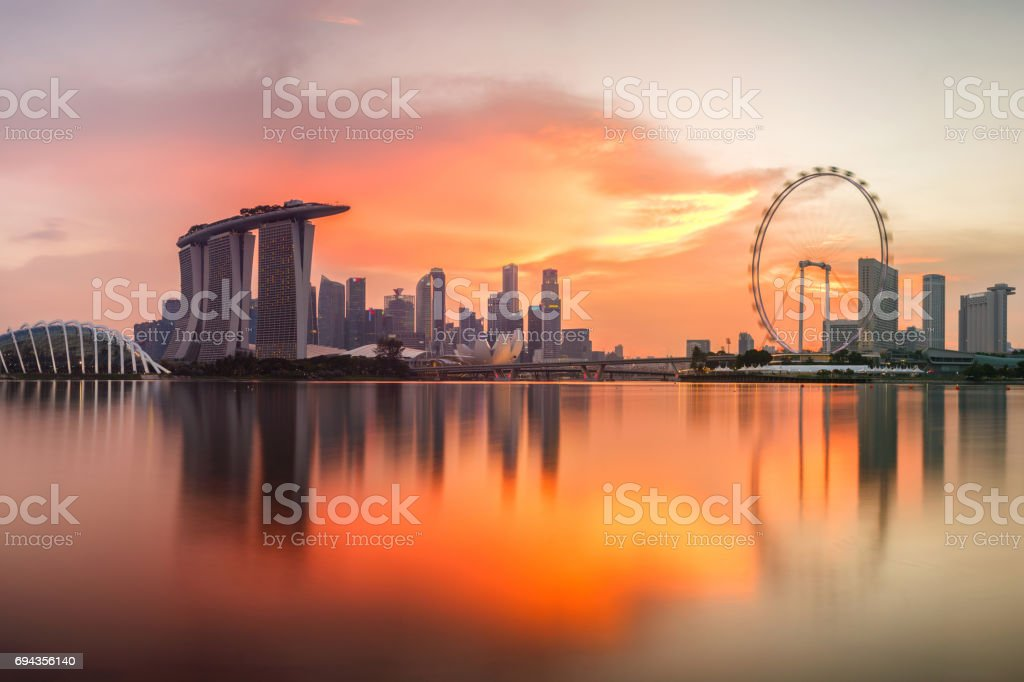 Singapore skyline at sunset time in Singapore city stock photo