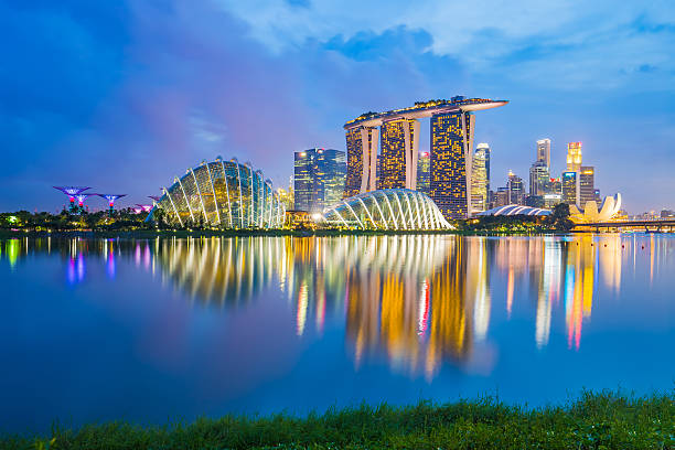 singapore skyline cityscape at night - singapore stock photos and pictures