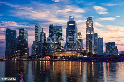 Singapore skyline and Marina Bay in evening