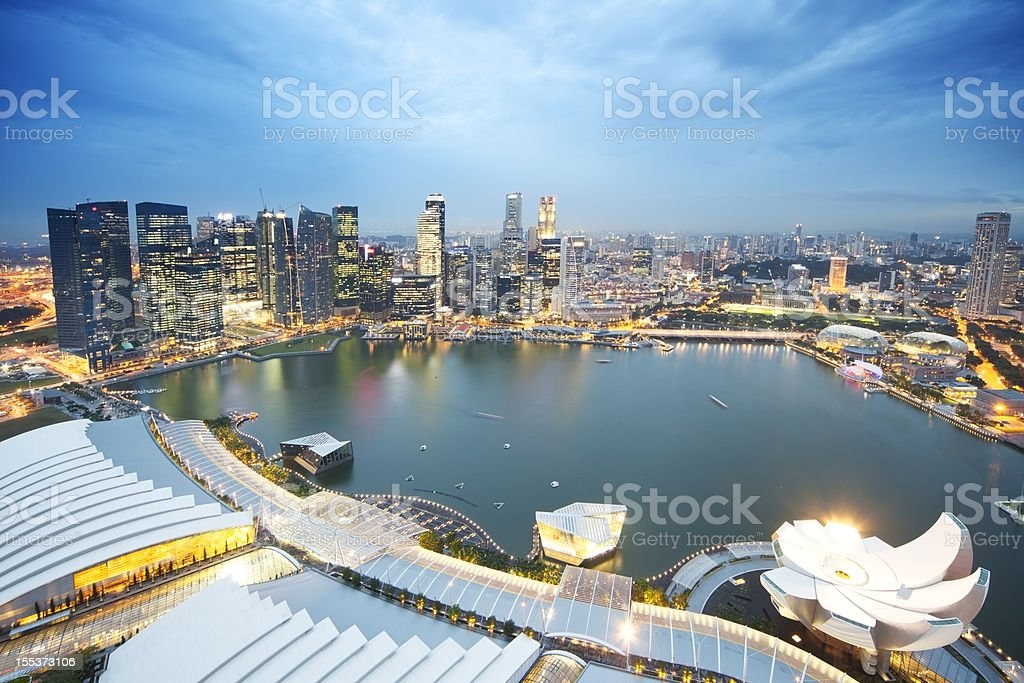 Skyline di Singapore Marina Bay - foto stock