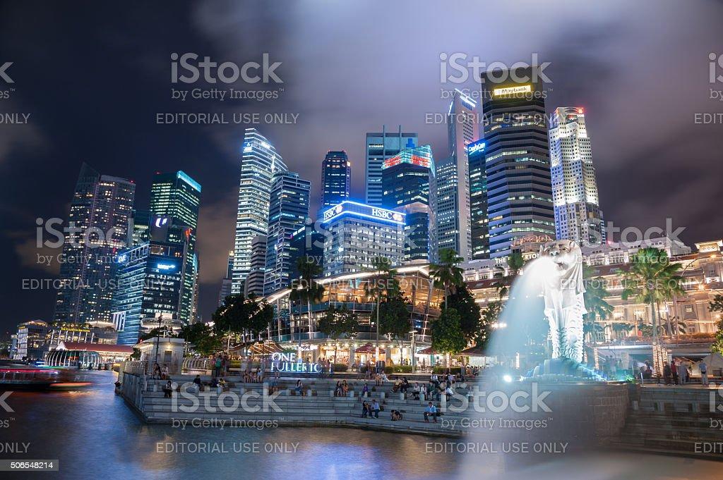 Singapore skyline Night stock photo