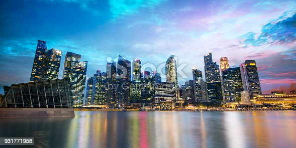 istock Singapore skyline of the financial district by night 931771958