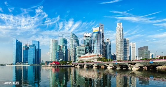 Singapore business district skyline panorama over Marina Bay