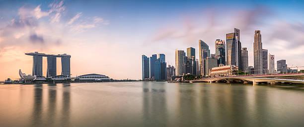 singapore skyline panorama - marina bay sands stock photos and pictures