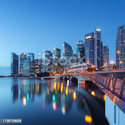 View of downtown Singapore at night.