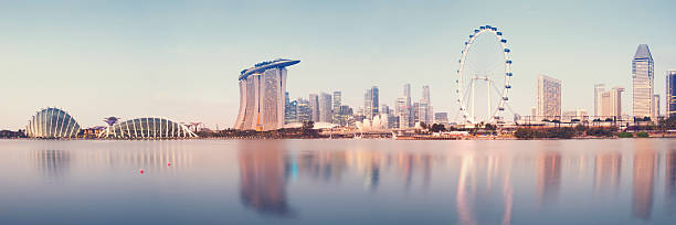 singapore skyline - marina bay sands stock photos and pictures