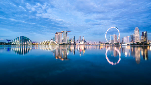 singapore skyline. - singapore nature stock photos and pictures